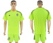 Wholesale Cheap Sweden Blank Shiny Green Goalkeeper Soccer Country Jersey