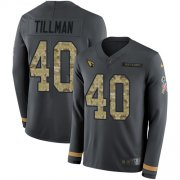 Wholesale Cheap Nike Cardinals #40 Pat Tillman Anthracite Salute to Service Men's Stitched NFL Limited Therma Long Sleeve Jersey