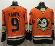 Wholesale Cheap Adidas Ducks #9 Paul Kariya Orange Authentic Stitched NHL Jersey