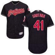 Wholesale Cheap Indians #41 Carlos Santana Navy Blue Flexbase Authentic Collection Stitched MLB Jersey