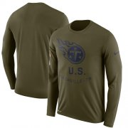 Wholesale Cheap Men's Tennessee Titans Nike Olive Salute to Service Sideline Legend Performance Long Sleeve T-Shirt