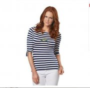 Wholesale Cheap Los Angeles Chargers Lady Striped Boatneck Three-Quarter Sleeve T-Shirt
