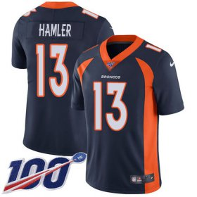 Wholesale Cheap Nike Broncos #13 KJ Hamler Navy Blue Alternate Youth Stitched NFL 100th Season Vapor Untouchable Limited Jersey