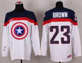 Wholesale Cheap Olympic Team USA #23 Dustin Brown White Captain America Fashion Stitched NHL Jersey
