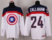 Wholesale Cheap Olympic Team USA #24 Ryan Callahan White Captain America Fashion Stitched NHL Jersey