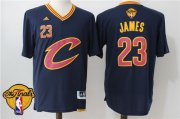 Wholesale Cheap Men's Cleveland Cavaliers LeBron James #23 2017 The NBA Finals Patch New Navy Blue Short-Sleeved Jersey