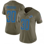 Wholesale Cheap Nike Lions #30 Jeff Okudah Olive Women's Stitched NFL Limited 2017 Salute To Service Jersey