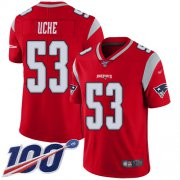 Wholesale Cheap Nike Patriots #53 Josh Uche Red Men's Stitched NFL Limited Inverted Legend 100th Season Jersey