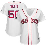 Wholesale Cheap Boston Red Sox #50 Mookie Betts Majestic Women's 2019 London Series Cool Base Player Jersey White