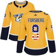 Wholesale Cheap Adidas Predators #9 Filip Forsberg Yellow Home Authentic USA Flag Women's Stitched NHL Jersey
