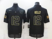 Wholesale Cheap Men's Buffalo Bills #12 Jim Kelly Black 2020 Salute To Service Stitched NFL Nike Limited Jersey