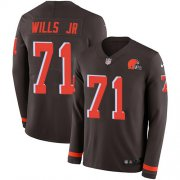 Wholesale Cheap Nike Browns #71 Jedrick Wills JR Brown Team Color Youth Stitched NFL Limited Therma Long Sleeve Jersey