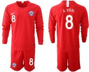 Wholesale Cheap Chile #8 A.Vidal Home Long Sleeves Soccer Country Jersey