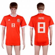 Wholesale Cheap Wales #8 King Red Home Soccer Club Jersey