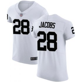 Wholesale Cheap Nike Raiders #28 Josh Jacobs White Men\'s Stitched NFL Vapor Untouchable Elite Jersey