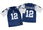Wholesale Nike Cowboys #12 Roger Staubach Navy Blue/White Throwback Men's Stitched NFL Elite Jersey