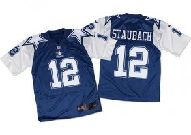 Wholesale Nike Cowboys #12 Roger Staubach Navy Blue/White Throwback Men\'s Stitched NFL Elite Jersey