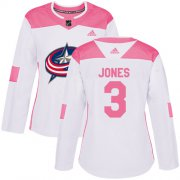 Wholesale Cheap Adidas Blue Jackets #3 Seth Jones White/Pink Authentic Fashion Women's Stitched NHL Jersey