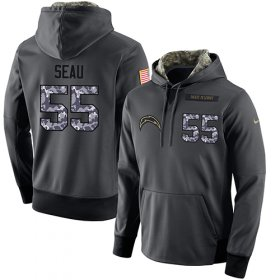 Wholesale Cheap NFL Men\'s Nike Los Angeles Chargers #55 Junior Seau Stitched Black Anthracite Salute to Service Player Performance Hoodie