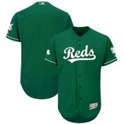 Wholesale Cheap Cincinnati Reds Majestic St. Patrick's Day Flex Base Authentic Collection Celtic Team Jersey Green