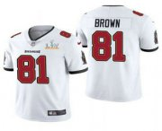 Wholesale Cheap Men's Tampa Bay Buccaneers #81 Antonio Brown White 2021 Super Bowl LV Limited Stitched NFL Jersey
