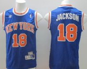 Wholesale Cheap New York Knicks #18 Phil Jackson Blue Swingman Throwback Jersey