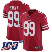 Wholesale Cheap Nike 49ers #99 Javon Kinlaw Red Team Color Men's Stitched NFL 100th Season Vapor Untouchable Limited Jersey