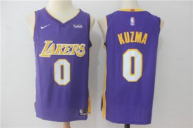 Wholesale Cheap Men\'s Los Angeles Lakers #0 Kyle Kuzma New Purple 2017-2018 Nike Swingman Wish Stitched NBA Jersey