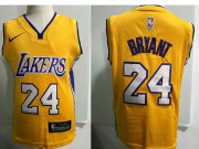 Wholesale Cheap Los Angeles Lakers #24 Kobe Bryant Yellow Toddlers Jersey