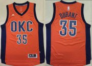 Wholesale Cheap Men's Oklahoma City Thunder #35 Kevin Durant Revolution 30 Swingman 2015-16 New Orange Jersey