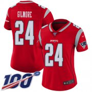 Wholesale Cheap Nike Patriots #24 Stephon Gilmore Red Women's Stitched NFL Limited Inverted Legend 100th Season Jersey