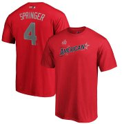 Wholesale Cheap American League #4 George Springer Majestic 2019 MLB All-Star Game Name & Number T-Shirt - Red