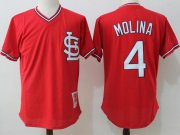 Wholesale Cheap Mitchell And Ness Cardinals #4 Yadier Molina Red Throwback Stitched MLB Jersey