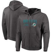 Wholesale Cheap Miami Dolphins Majestic Hyper Stack Full-Zip Hoodie Heathered Charcoal