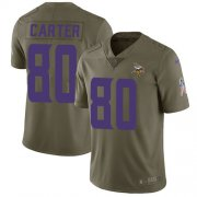 Wholesale Cheap Nike Vikings #80 Cris Carter Olive Men's Stitched NFL Limited 2017 Salute to Service Jersey