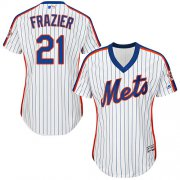 Wholesale Cheap Mets #21 Todd Frazier White(Blue Strip) Alternate Women's Stitched MLB Jersey