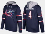 Wholesale Cheap Blue Jackets #4 Scott Harrington Navy Name And Number Hoodie