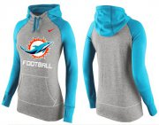 Wholesale Cheap Women's Nike Miami Dolphins Performance Hoodie Grey & Blue_1