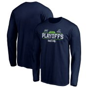 Wholesale Cheap Seattle Seahawks 2019 NFL Playoffs Bound Chip Shot Long Sleeve T-Shirt College Navy