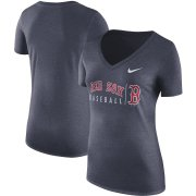 Wholesale Cheap Boston Red Sox Nike Women's Practice Tri-Blend V-Neck T-Shirt Navy