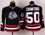 Wholesale Cheap Blackhawks #50 Corey Crawford Black(White Skull) 2014 Stadium Series Stitched Youth NHL Jersey