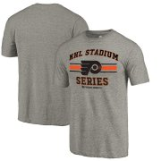 Wholesale Cheap Men's Philadelphia Flyers Gray 2019 Stadium Series Vintage Tri-Blend T-Shirt