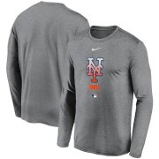 Wholesale Cheap Men's New York Mets Nike Charcoal Authentic Collection Legend Performance Long Sleeve T-Shirt