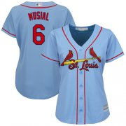Wholesale Cheap Cardinals #6 Stan Musial Light Blue Alternate Women's Stitched MLB Jersey