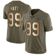 Wholesale Cheap Nike Texans #99 J.J. Watt Olive/Gold Youth Stitched NFL Limited 2017 Salute to Service Jersey