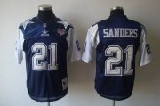 Wholesale Cheap Mitchell & Ness Cowboys #21 Deion Sanders Blue/White With 75TH Stitched Throwback NFL Jersey