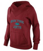 Wholesale Cheap Women's New York Jets Heart & Soul Pullover Hoodie Red