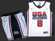 Wholesale Cheap USA Basketball Retro 1992 Olympic Dream Team 8 Scottie Pippen White Basketball Suit