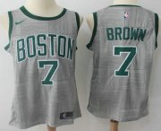 Wholesale Cheap Men's Boston Celtics #7 Jaylen Brown Gray NBA Swingman City Edition Jersey