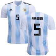 Wholesale Cheap Argentina #5 Paredes Home Soccer Country Jersey